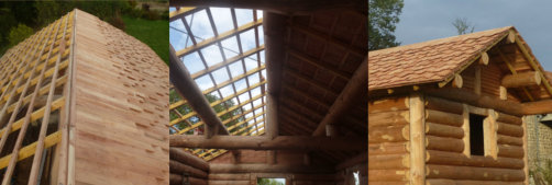 Couverture de maison en bardeaux de boiss